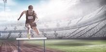 Composite Image Of Sportsman Practising Hurdles