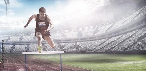 Fotografía  Imagen compuesta de obstáculos deportista practicando