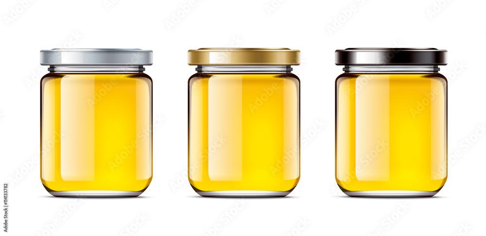 Fototapety, obrazy: Set jars of honey