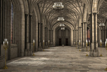 Gorgeous View Of Gothic Cathedral Interior 3d CG Illustration