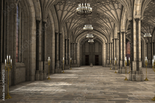 Fototapeta Gorgeous view of gothic cathedral interior 3d CG illustration obraz