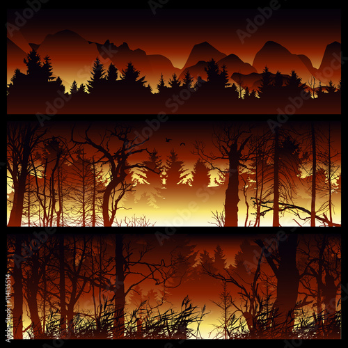 Garden Poster Brown Wildfire background. Burning forest vector horizontal banners. Forest fire design template. landscape nature, wood natural panorama. Outdoor wildfire design template. Forest fire banner collection.