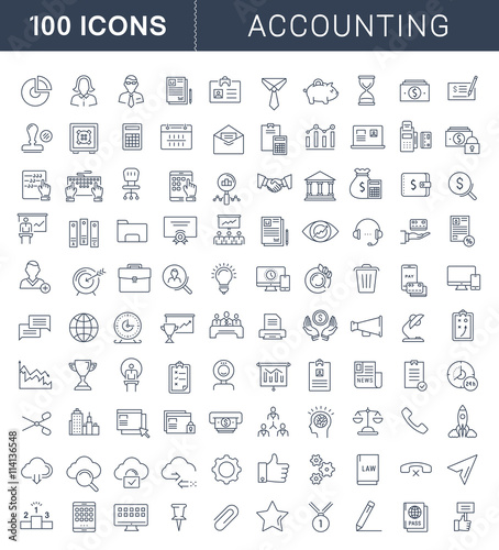 Set Vector Flat Line Icons Accounting and Finance Wallpaper Mural
