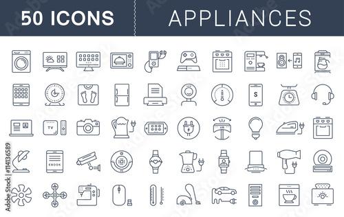Fotografía  Set Vector Flat Line Icons Appliance