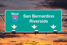San Bernardino Riverside Interstate 10 West Highway Sign With Su