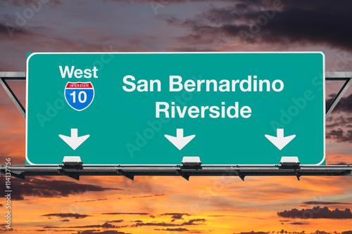 Canvas Print San Bernardino Riverside Interstate 10 West Highway Sign with Su