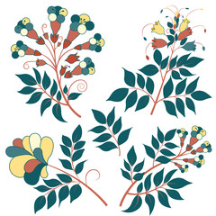 Set of Vector Multicolored Flowers
