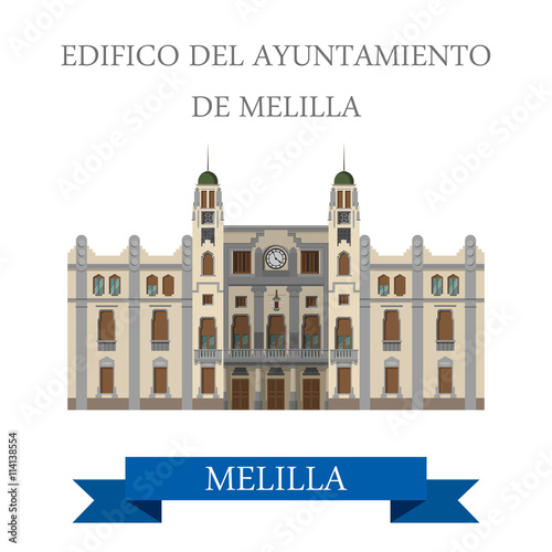 Edificio del Ayuntamiento de Melilla. Flat vector illustration