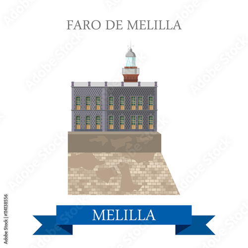 Foro de Melilla. Flat cartoon showplace vector illustration