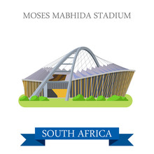 Moses Mabhida Stadium In South Africa. Flat Vector Illustration