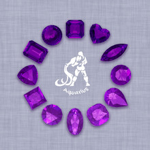 Group Of  Amethyst  Gemstones  With Clipping Path