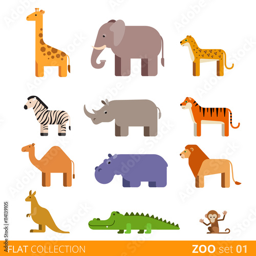 plakat Flat vector icon wild farm domestic animal cartoon collection