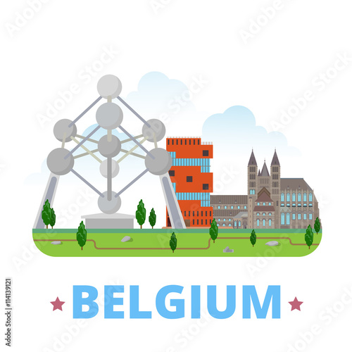 Canvas Print Belgium country design Flat cartoon style web site vector