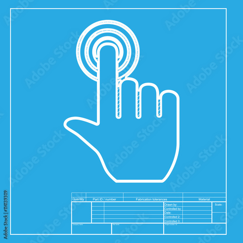hand click on button white section of icon on blueprint template
