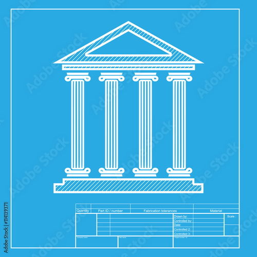 Blueprint Template | Historical Building Illustration White Section Of Icon On Blueprint
