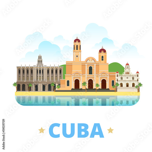 Photo  Cuba country design template Flat cartoon style web vector