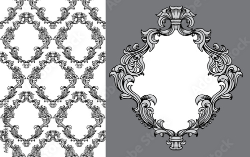 Fotografie, Obraz  Vector illustration of baroque acanthus leaves frame seamless wallpaper pattern