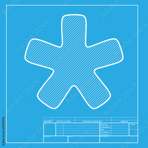 Asterisk star sign  White section of icon on blueprint template