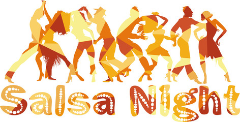 FototapetaSalsa nigh polygonal vector silhouette illustration with dancing couples, EPS 8