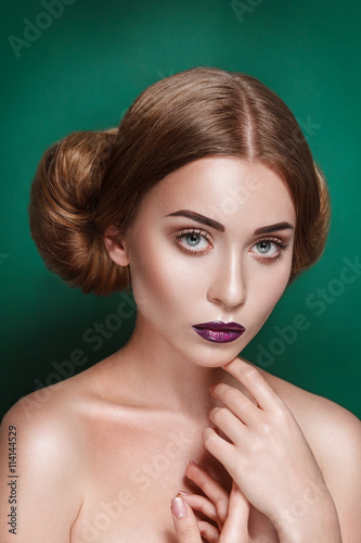 Attractive mysterious young woman with double hair bun in Princess Leia hairstyl Canvas Print