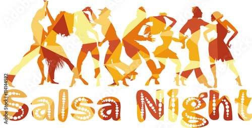 Salsa nigh polygonal vector silhouette illustration with dancing couples, EPS 8 - 114144592
