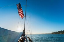 Yacht And American Flag, Sausalito, California, USA