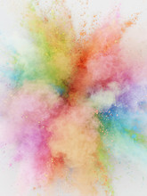 Abstract Rainbow Colour Powder Explosion