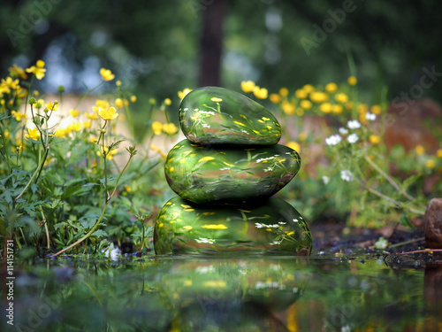 Fotografía  spa concept Zen beautiful stones, water, nature