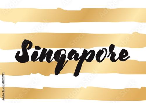 Photo  Singapore. Capital city typography lettering design.