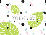 Positive vibes inscription on abstract background - 114152374