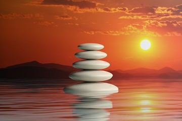 Obraz na Plexi Zen stones stack. 3d illustration