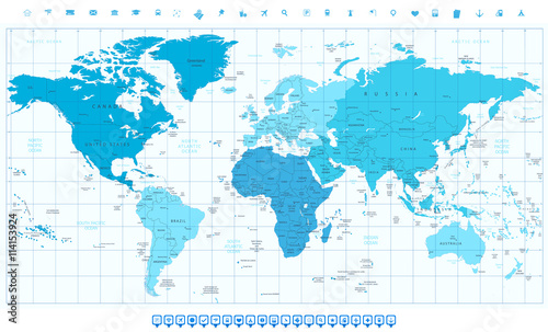 World Map With Different Colored Continents In Colors Of Blue Buy