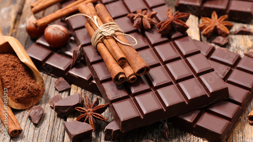 Fototapeta chocolate bar and spices