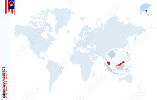Photo  Blue world map with magnifying on Malaysia.