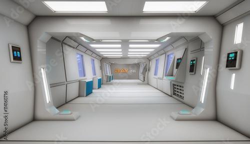 Poster Industrial geb. 3d render interior. Futuristic hallway. Interior concept design