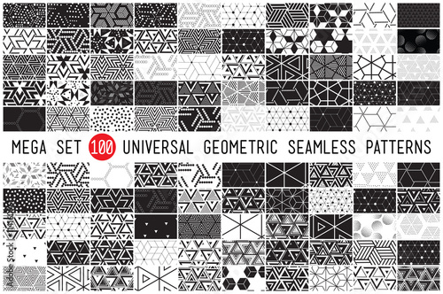 Türaufkleber Künstlich hundred universal different geometric seamless patterns