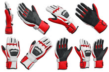 Set Skiing Sports Gloves Isolated On White Background. 3D Graphic