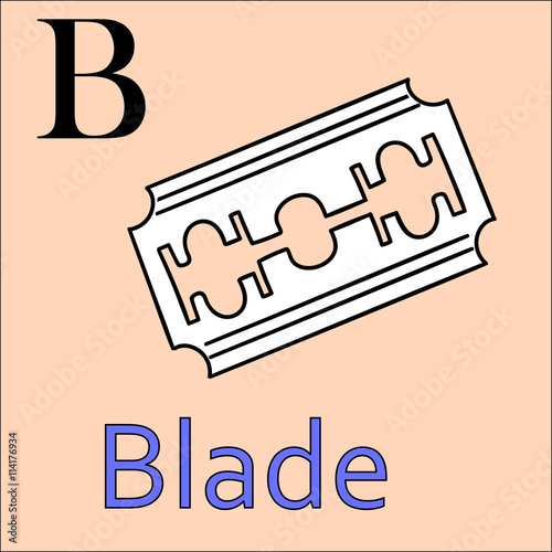 B Letter Vector Alphabet Coloring Book Blade
