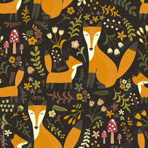 Fototapeta Adorable seamless pattern with cute foxes - Mother fox and her baby