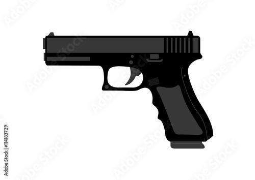 Fotografia, Obraz  Hand gun in black on white