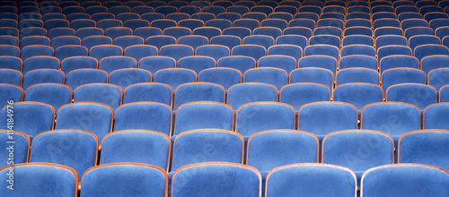 Aluminium Prints Theater Blue Seats in Theater