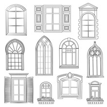 Window Set. Windows Of Different Style Sketch Architecturall Collection