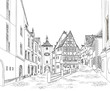 Street with old buildings and cafe in old city. Old city view. Travel Germany background