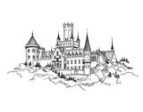 Famous German Castle Landscape. Travel Germany Background. Castle building on the hill skyline etching