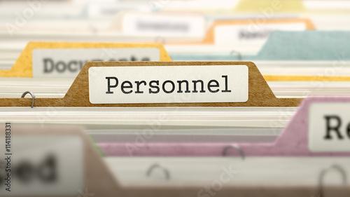 Fototapeta File Folder Labeled as Personnel in Multicolor Archive