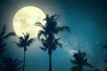 Beautiful Fantasy Palm Tree Tropical Beach With Milky Way Star In Night Skies, Wonderful Full Moon - Retro Style Artwork With Vintage Color Tone (Elements Of This Moon Image Furnished By NASA)