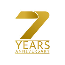 Simple Gold Anniversary Logo Vector Year 7