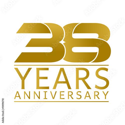 Tela  Simple Gold Anniversary Logo Vector Year 38