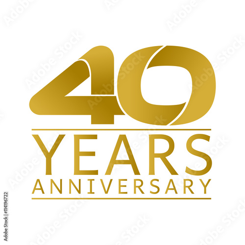Poster Simple Gold Anniversary Logo Vector Year 40