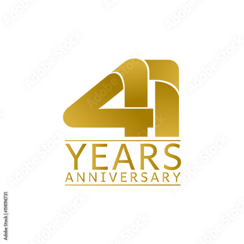Fotografia  Simple Gold Anniversary Logo Vector Year 41